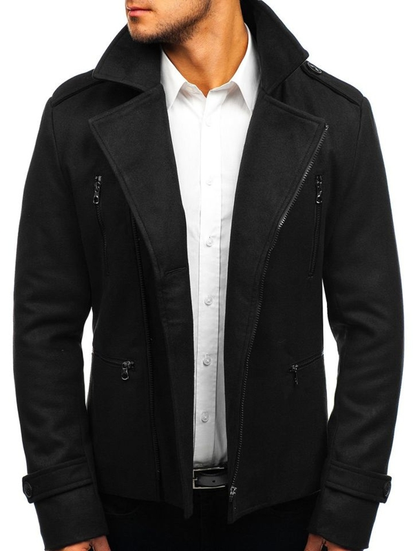 Čierny pánsky zimný kabát BOLF 3133