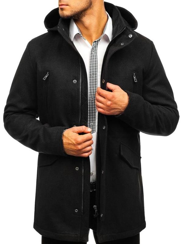 Čierny pánsky zimný kabát BOLF 5439