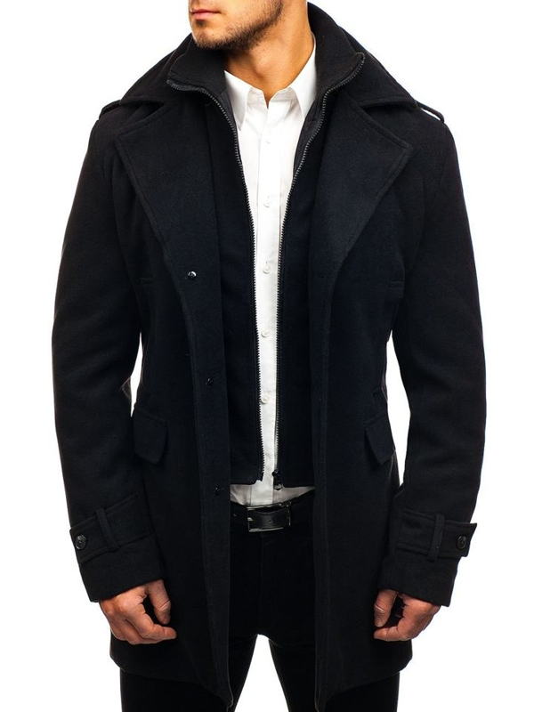 Čierny pánsky zimný kabát Bolf 1808-A