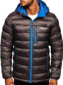 Grafitová pánska prešívaná športová zimná bunda Bolf  BK145