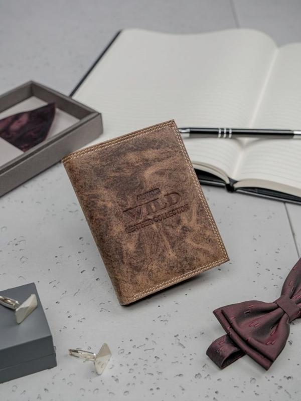 Hnedá pánska kožená peňaženka 3202