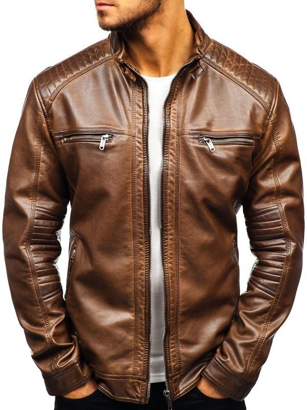 Hnedá pánska koženková bunda BOLF ex807