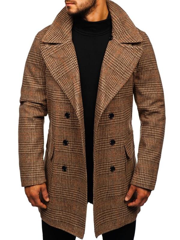 Hnedý pánsky zimný kabát Bolf 1117