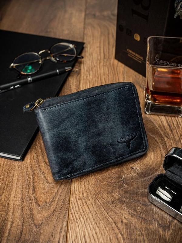 Modrá pánska kožená  peňaženka 1636