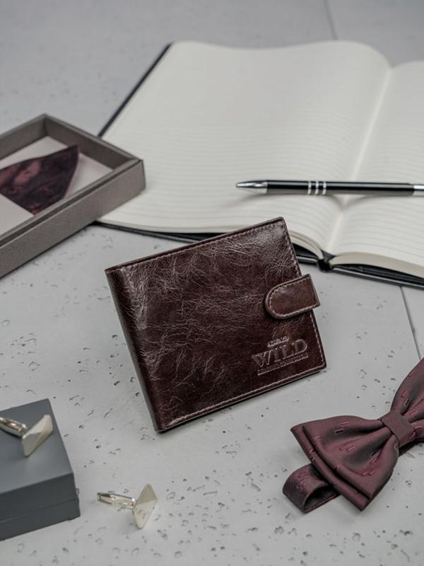 Tmavohedná pánska kožená peňaženka 3187