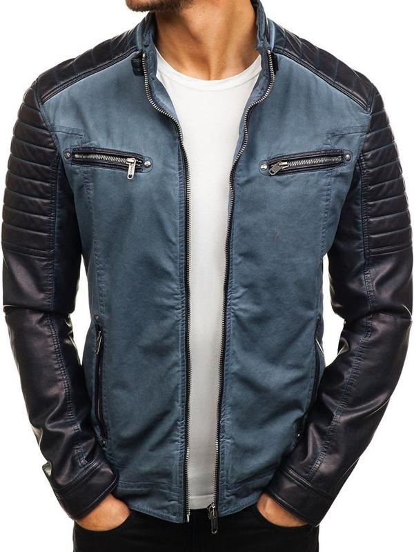 Tmavomodrá pánska koženková bunda BOLF ex809-A