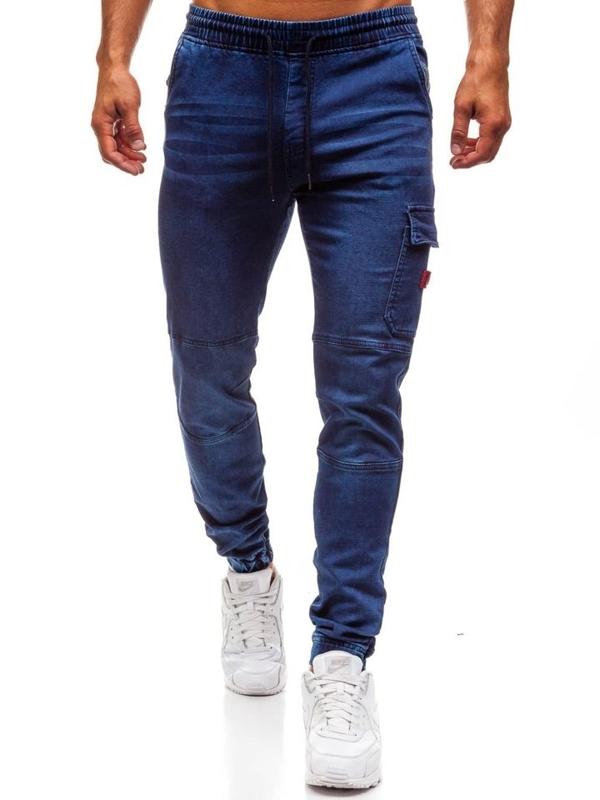 Tmavomodré pánske riflové jogger nohavice BOLF Y271