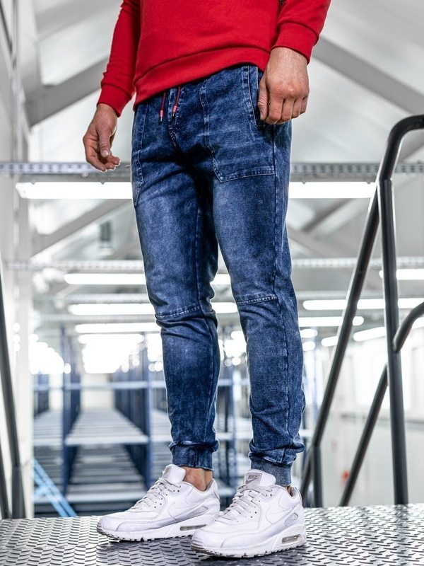 Tmavomodré pánske rifľové joggery BolfKK1051
