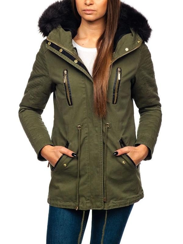 Zelená dámska zimná bunda BOLF M16