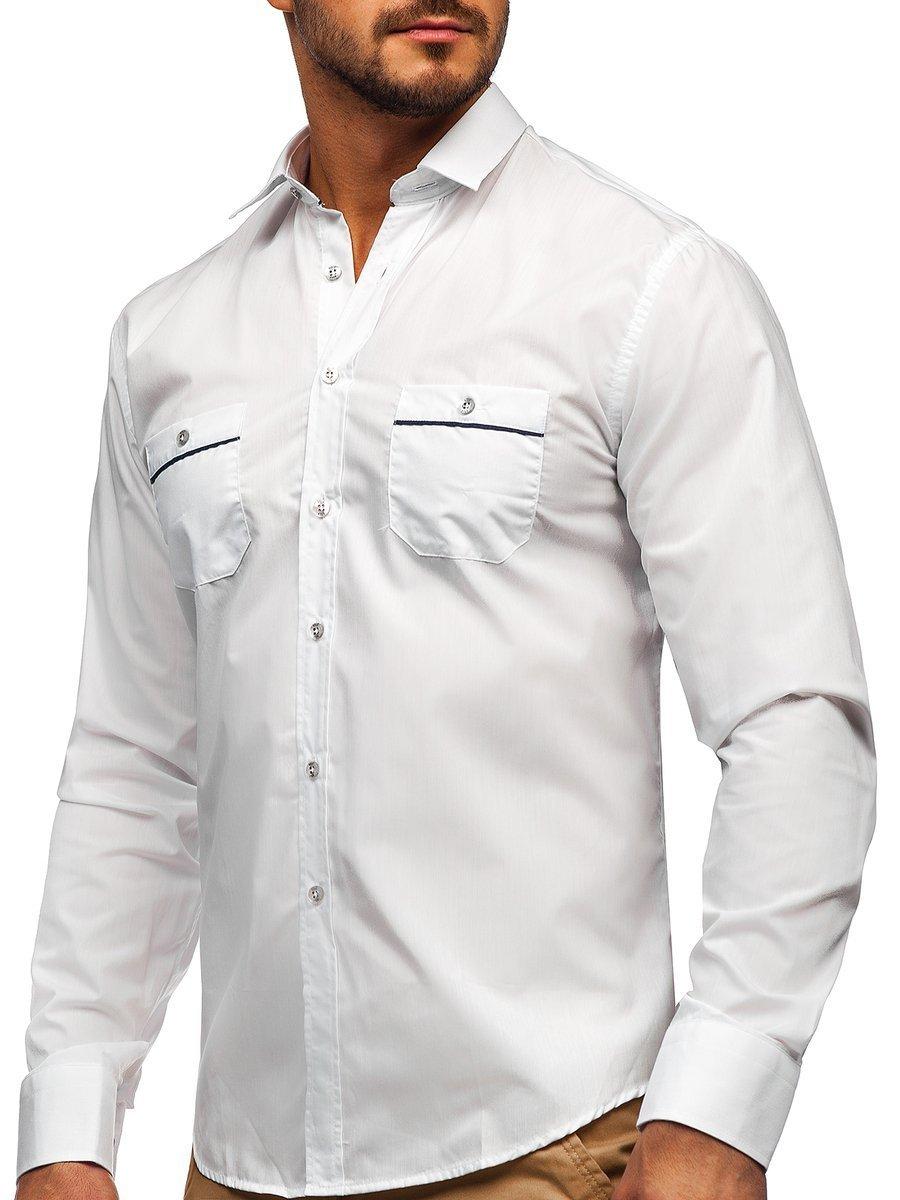 6c8a6e7e929f Biela pánska elegantná košeľa s dlhými rukávmi BOLF 5792