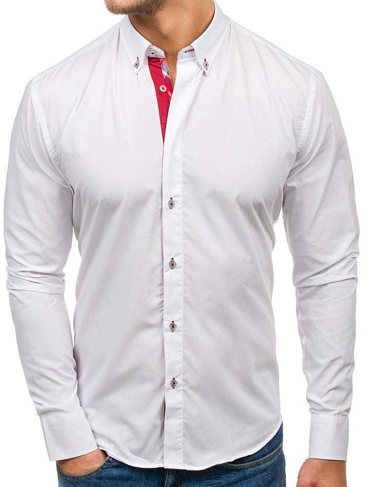 6724a7a655e1 Biela pánska elegantná košeľa s dlhými rukávmi BOLF 6930