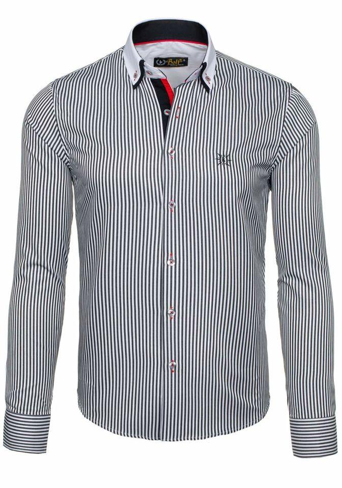 4d92692e39c5 Bielo-čierna pánska elegantná pruhovaná košeľa s dlhými rukávmi BOLF 5758