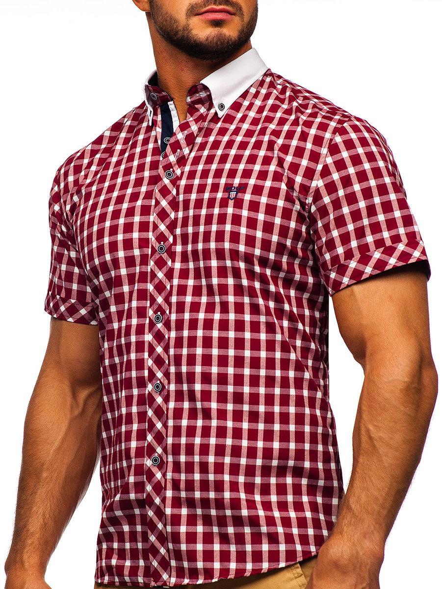 760ecf5efb Bordová pánska elegantná kockovaná košeľa s krátkymi rukávmi BOLF 5531