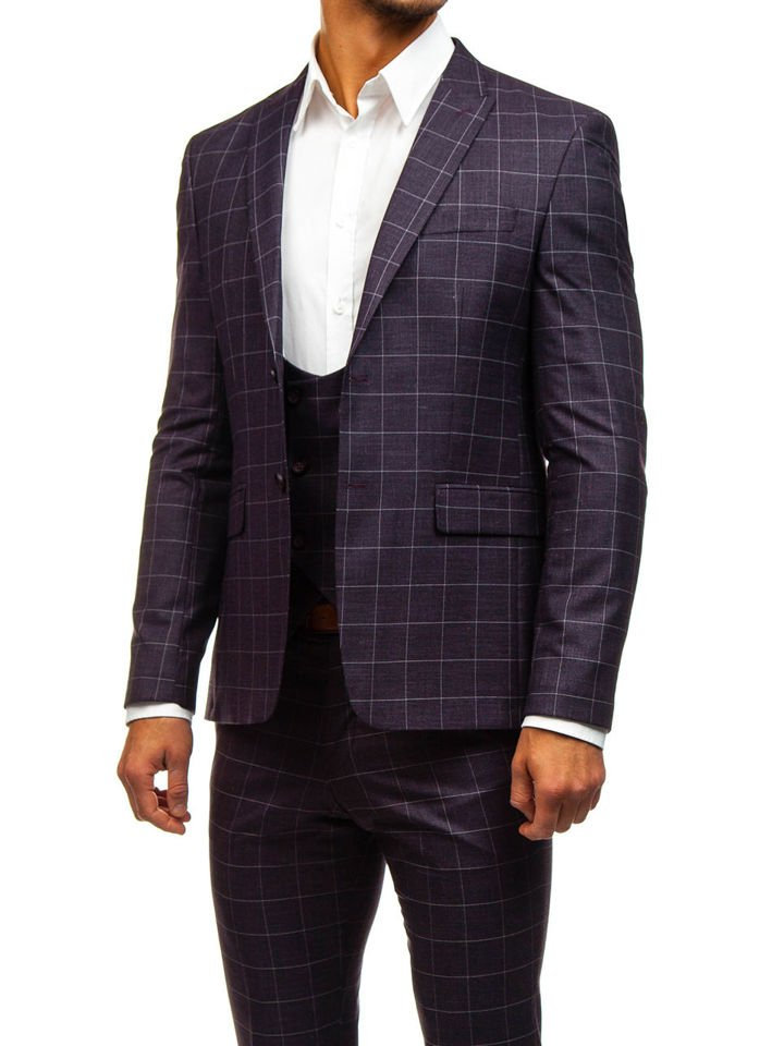 a5e0ef7172b6d Bordový pánsky károvaný oblek s vestou BOLF 200K