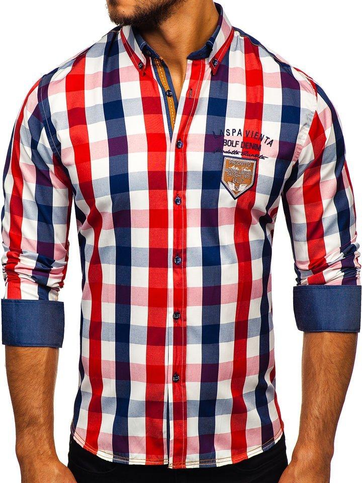 3047af707168 Červená pánska károvaná košeľa s dlhými rukávmi BOLF 1766-1