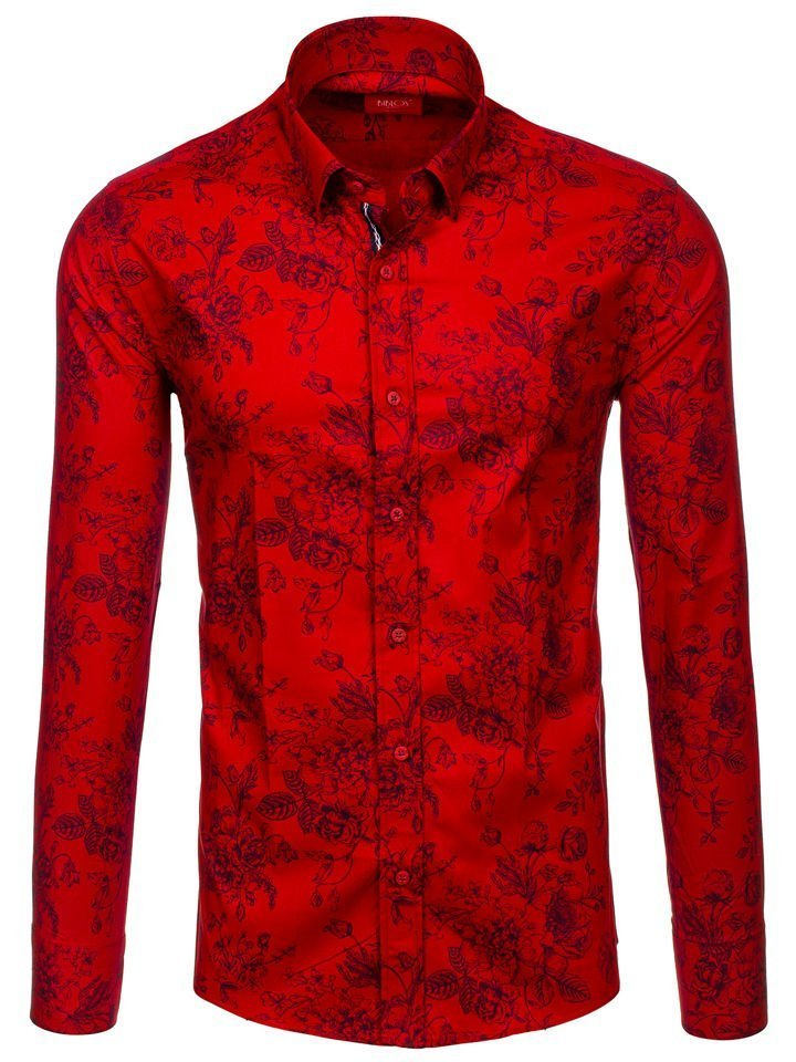 1778d3843c6a Červená pánska vzorovaná košeľa s dlhými rukávmi BOLF 470G19