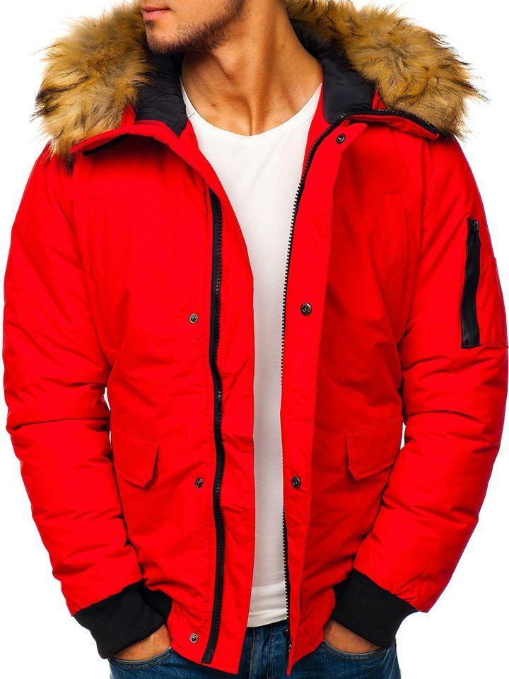 ea2cc0406 Červená pánska zimná bunda BOLF 201819