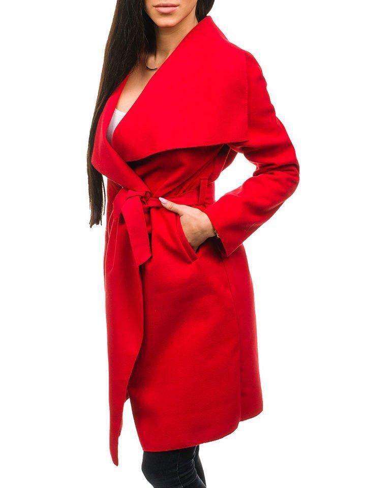 Červený dámsky dlhý kabát BOLF 1729 26ad7176bd4