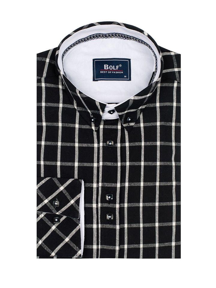 ca26603ed57b Čierna pánska károvaná košeľa s dlhými rukávmi BOLF 8825