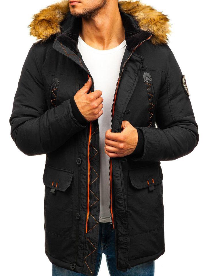 Čierna pánska zimná bunda parka BOLF 5312 e037196273a