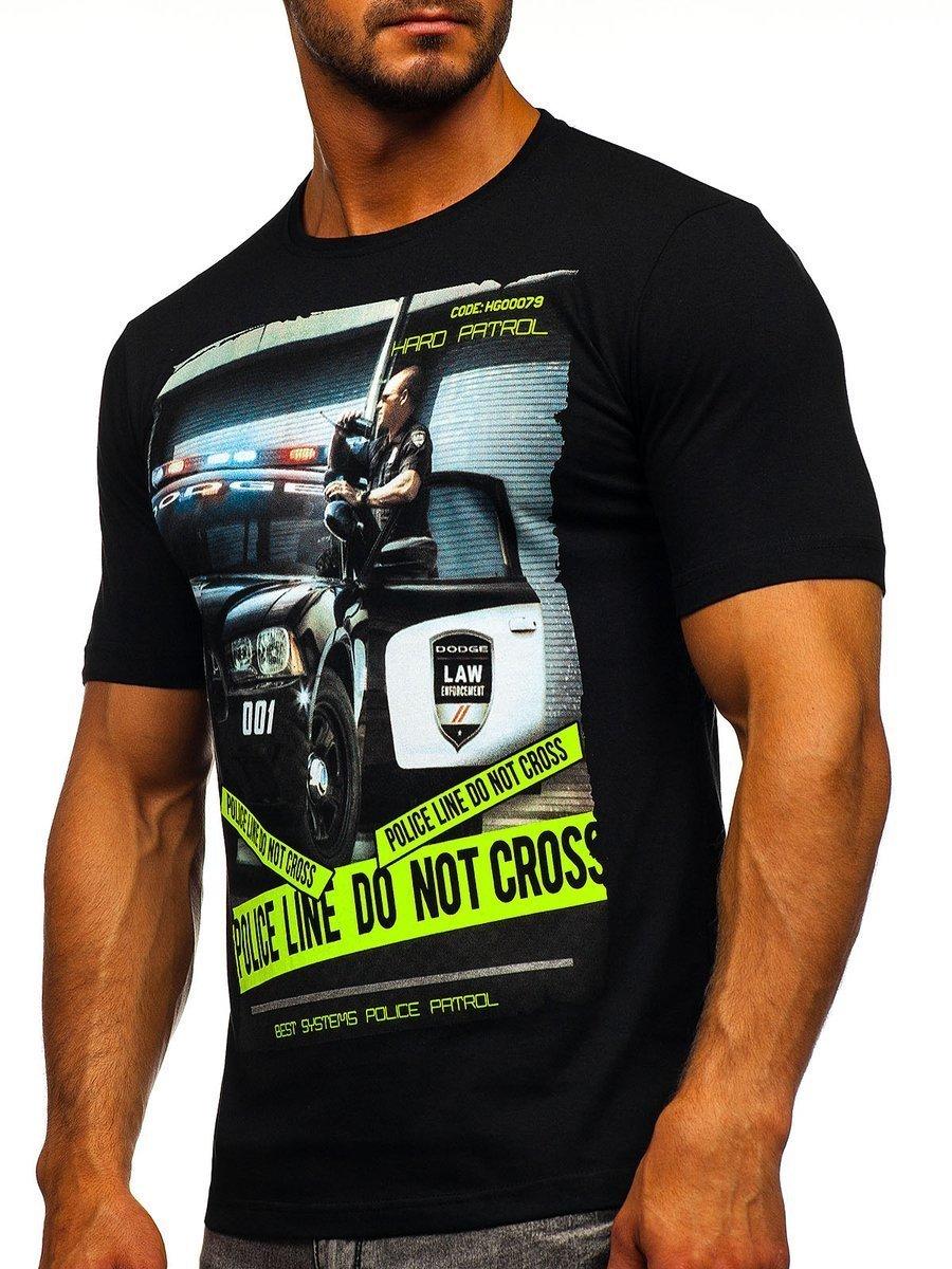 6c477ed60f6b8 Čierne pánske tričko s potlačou BOLF 6298