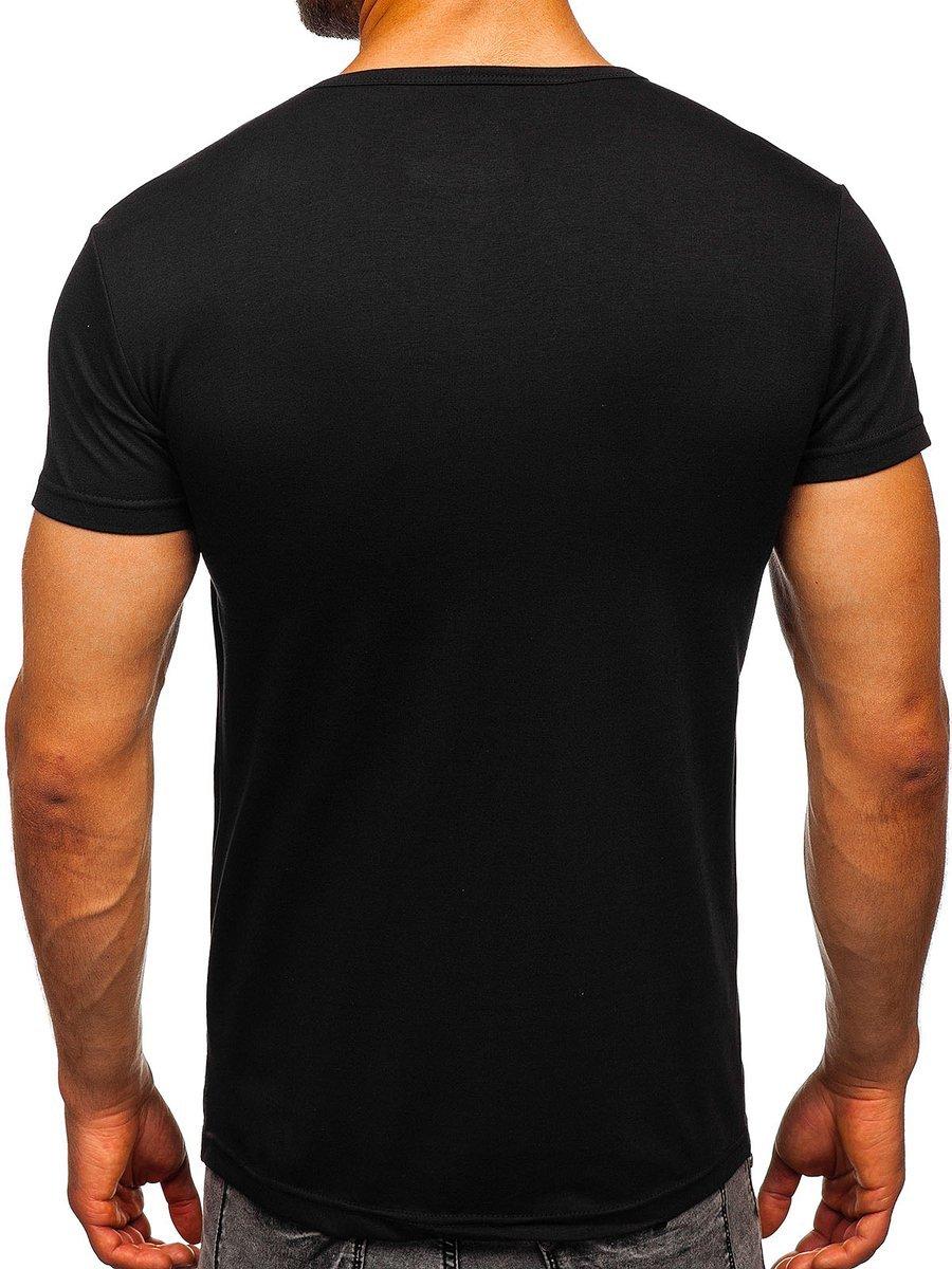 98db6b0e0b6d8 Čierne pánske tričko s potlačou BOLF SS392