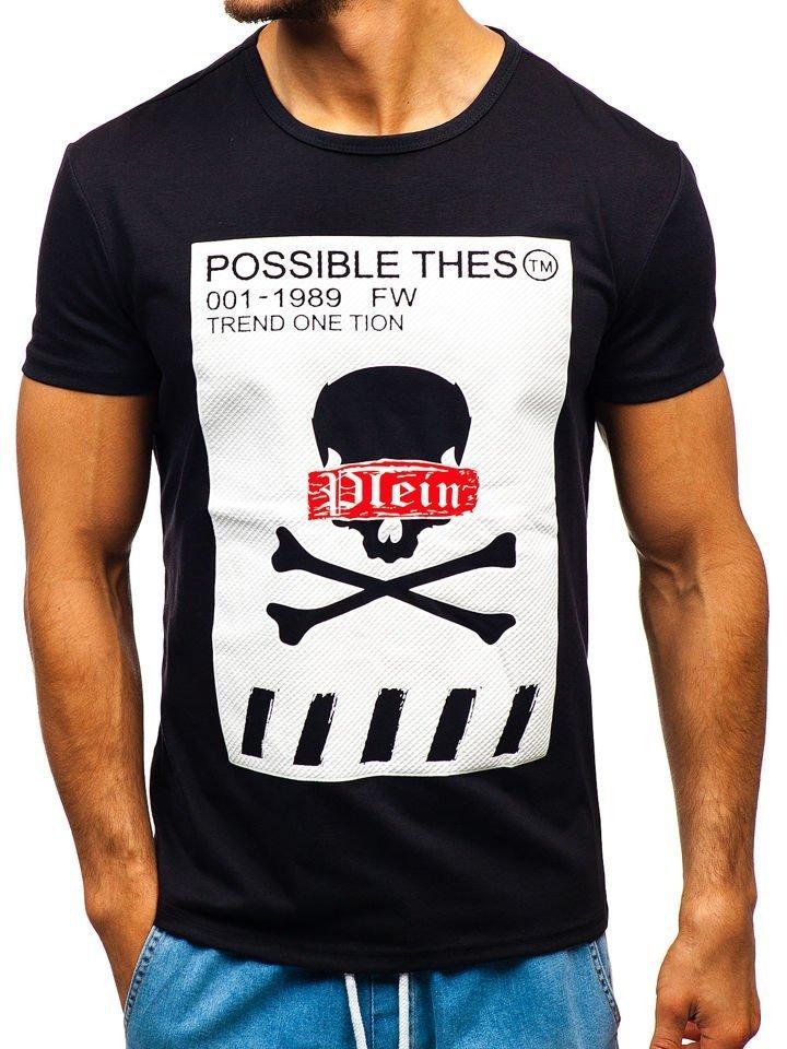 0bc5d8a5829dc Čierne pánske tričko s potlačou BOLF SS811