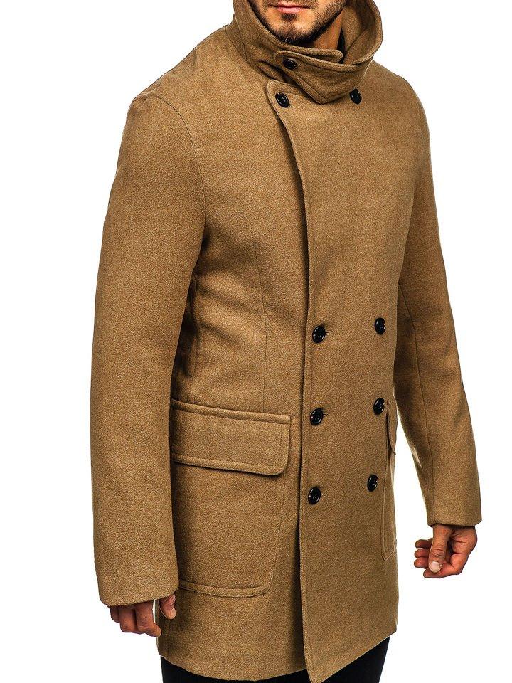 5baab1c34a47 Kamelový pánsky zimný kabát BOLF 1048