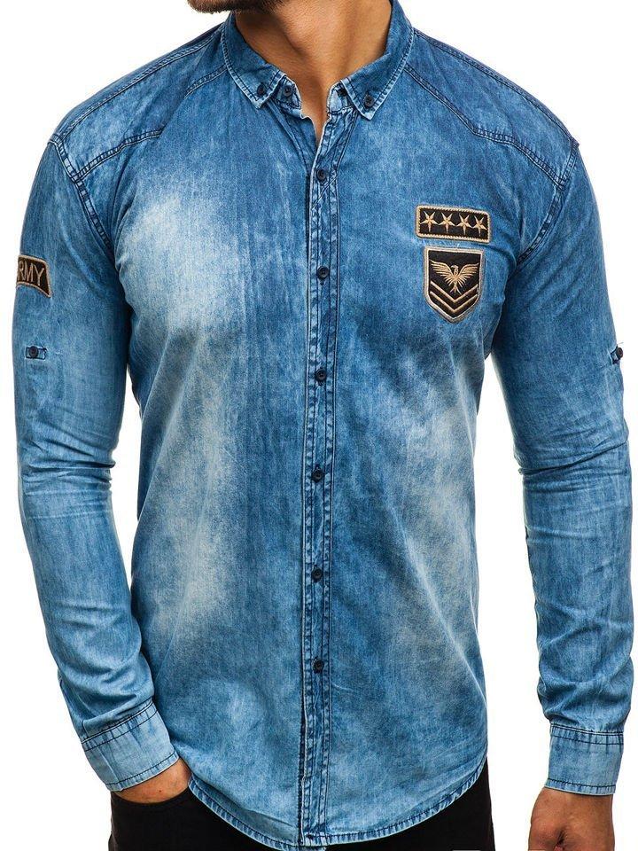 5a52ea7fb1 Modrá pánska riflová košeľa s dlhými rukávmi BOLF 0992