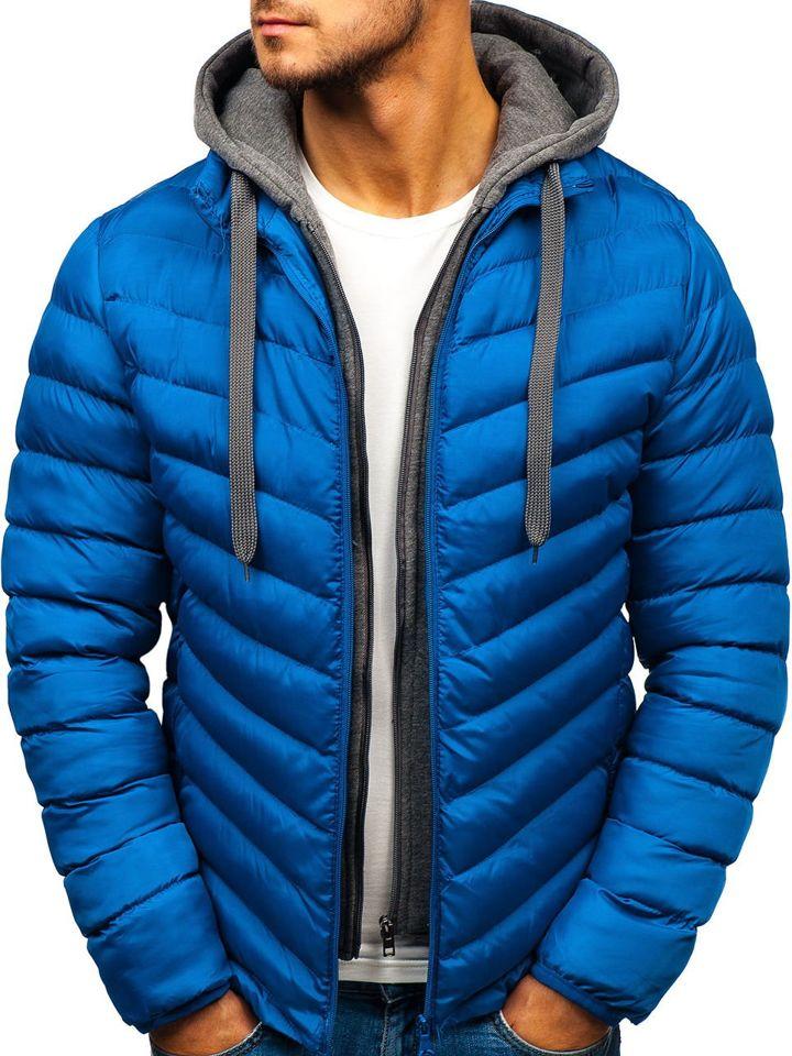 Modrá pánska športová prechodná bunda s kapucňou BOLF SM08 18c6349f65e