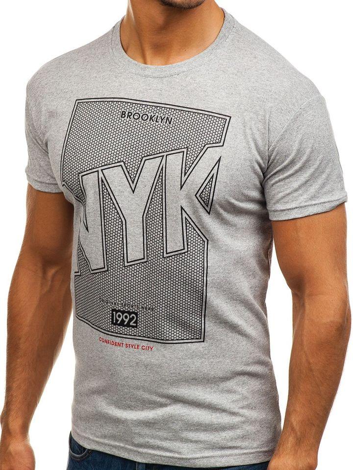 bb1f996f2 Šedé pánske tričko s potlačou BOLF 0007