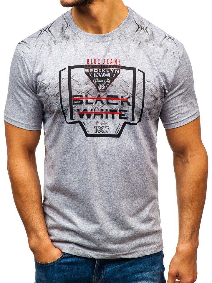 342258349 Šedé pánske tričko s potlačou BOLF 14207