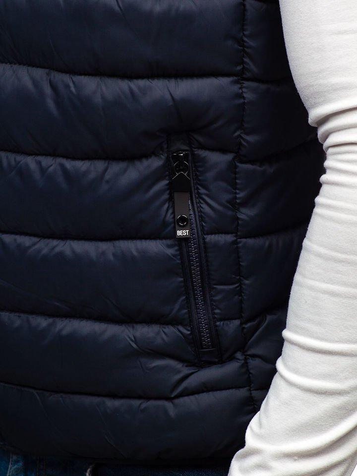 Tmavomodrá pánska prešívaná vesta BOLF 1262 dbe45185280
