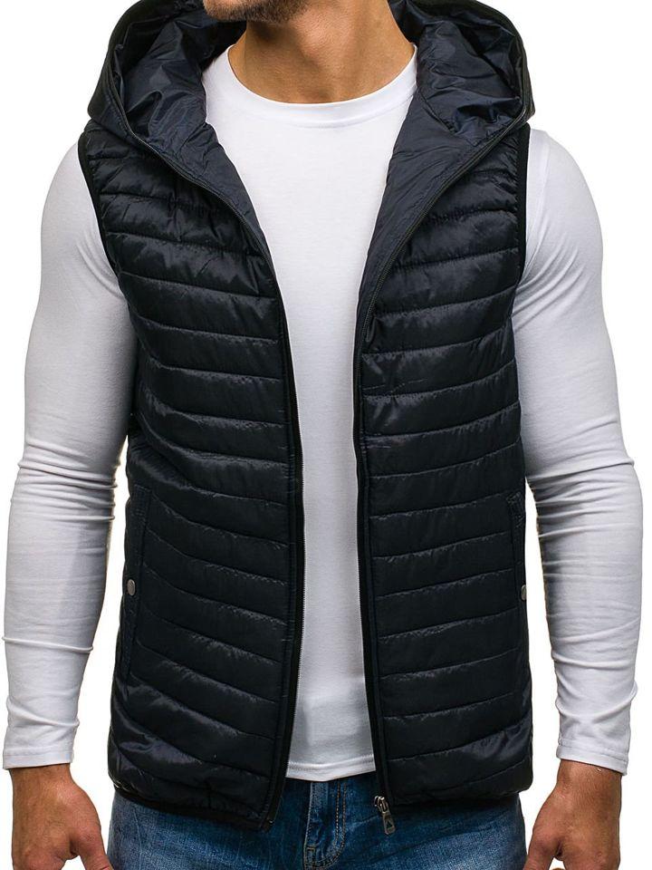 Tmavomodrá pánska prešívaná vesta s kapucňou BOLF 1001 e66f159e01c