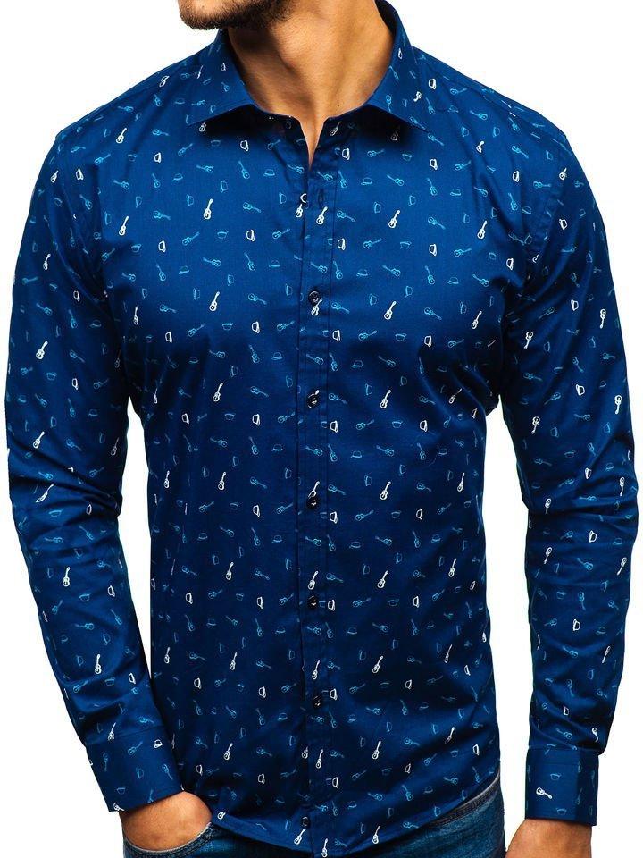 d2b3e19ebf17 Tmavomodrá pánska vzorovaná košeľa s dlhými rukávmi BOLF 201G25