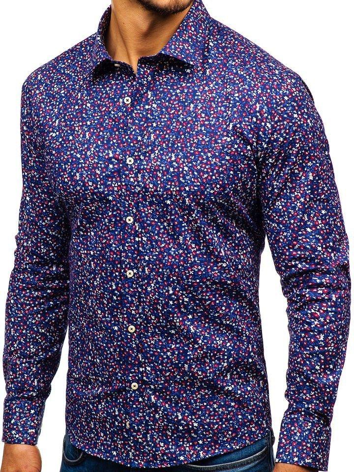 2078eeaa9fb2 Tmavomodrá pánska vzorovaná košeľa s dlhými rukávmi BOLF 300G10