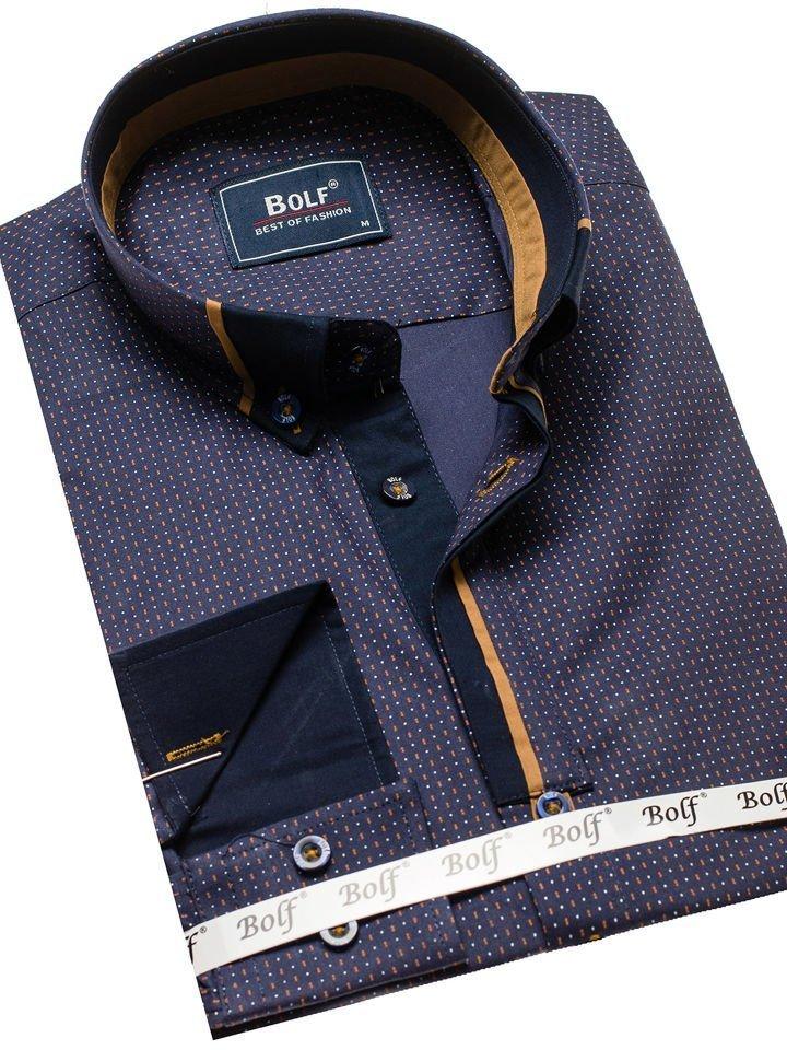6c1a25254f16 Tmavomodrá pánska vzorovaná košeľa s dlhými rukávmi BOLF 8844C