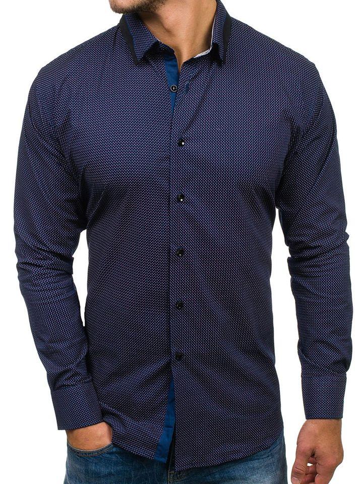 83f152921f77 Tmavomodrá pánska vzorovaná košeľa s dlhými rukávmi BOLF TS102