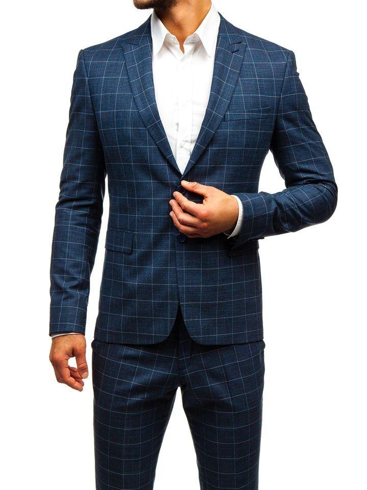c240e7236657 Tmavomodrý pánsky károvaný oblek s vestou BOLF 18200