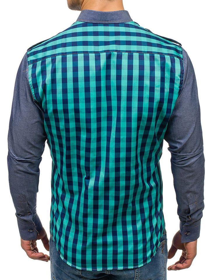 b99f5292e843 Tyrkysová pánska kockovaná košeľa s dlhými rukávmi BOLF 7704