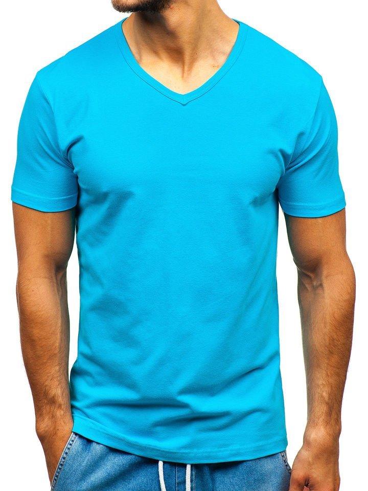 6033722be859 Tyrkysové pánske tričko bez potlače BOLF T1043