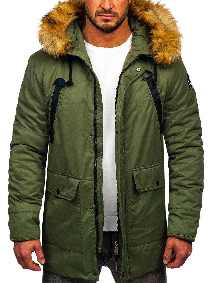c2053771b Zelená pánska zimná bunda parka BOLF 1791
