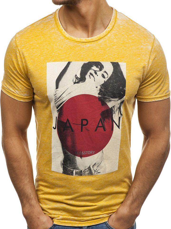 777af15cb0df Žlté pánske tričko s potlačou BOLF 7646
