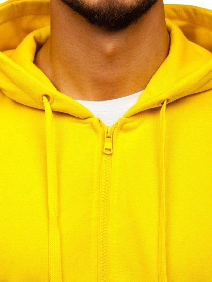 Žltá pánska mikina na zips s kapucňou Bolf 2008-A