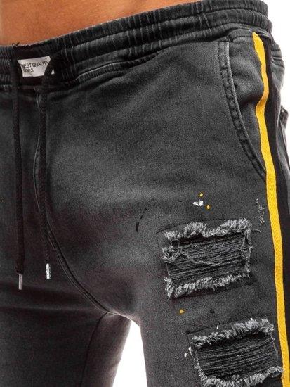 Antracitové pánske riflové baggy nohavice BOLF 2041