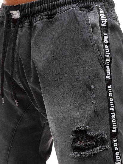 Antracitové pánske riflové baggy nohavice BOLF 2045