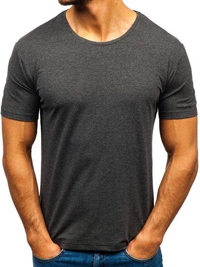 Antracitové pánske tričko bez potlače BOLF 172009-A