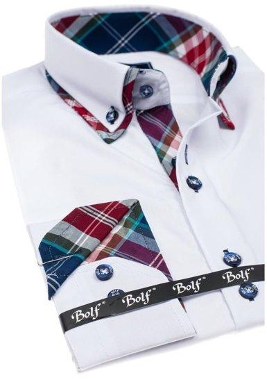 Biela pánska elegantná košeľa s dlhými rukávmi BOLF 4704