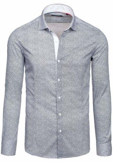 Biela pánska elegantná košeľa s dlhými rukávmi BOLF 7182