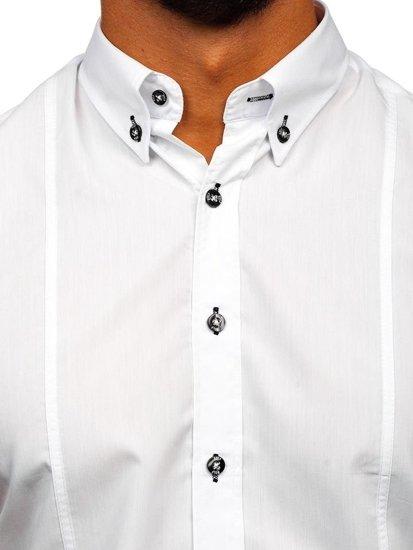 Biela pánska košeľa s krátkymi rukávmi Bolf 5528